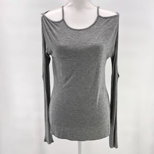 Bailey 44 Gray Cold Shoulder Open Sleeve Shirt M